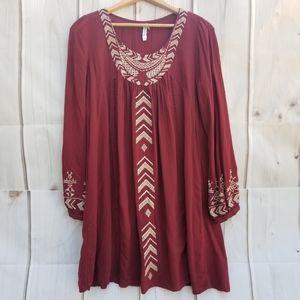 Monoreno Maroon Boho Tunic Dress Size M